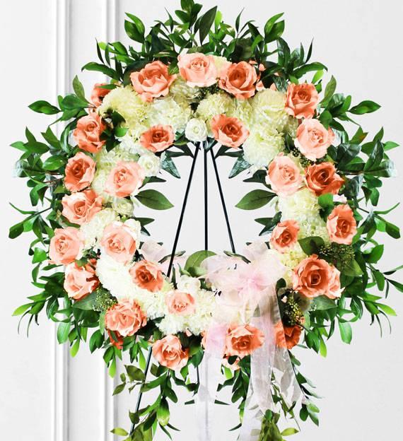 Peach & White Sympathy Wreath