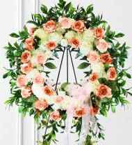 Peach & White Sympathy Wreath