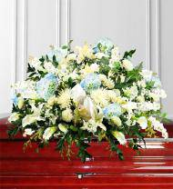 Blue Sympathy Casket Spray