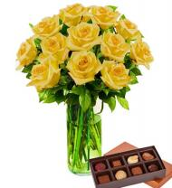 Dozen Yellow Roses & Chocolates