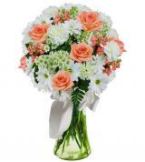 Peach & White Sympathy Vase