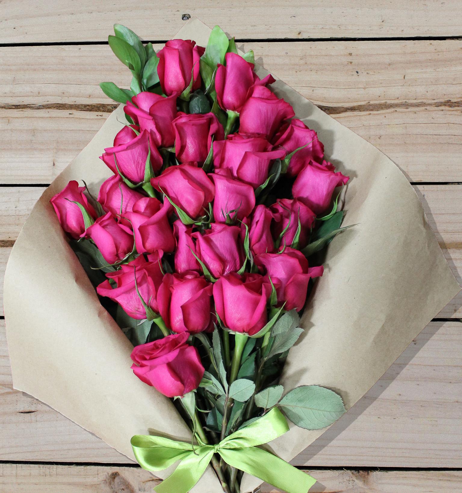 24 Pink Roses - Farm Fresh