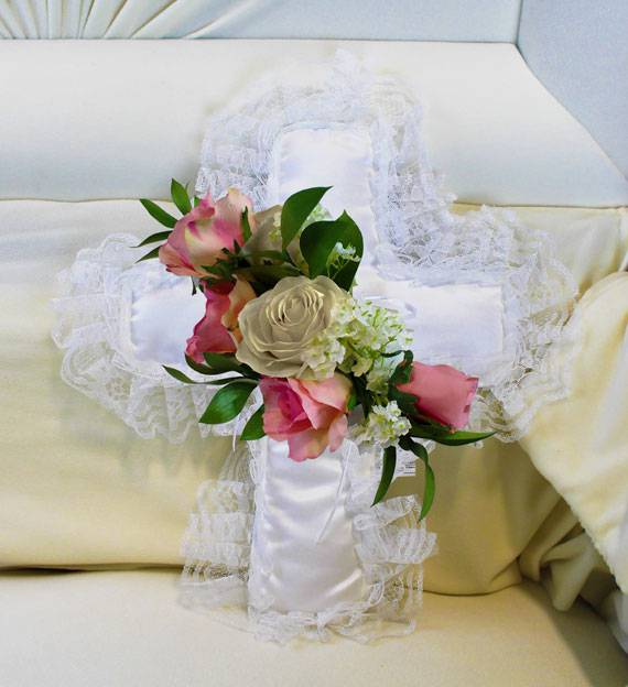 Pink & White Satin Cross Pillow