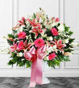 Pink & White Sympathy Floor Basket