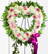 Pink & White Sympathy Heart Wreath