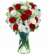 Red and White Sympathy Vase