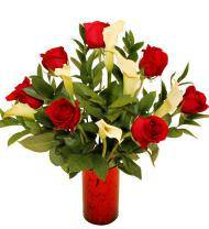 Red Rose and Mini Calla Lilies