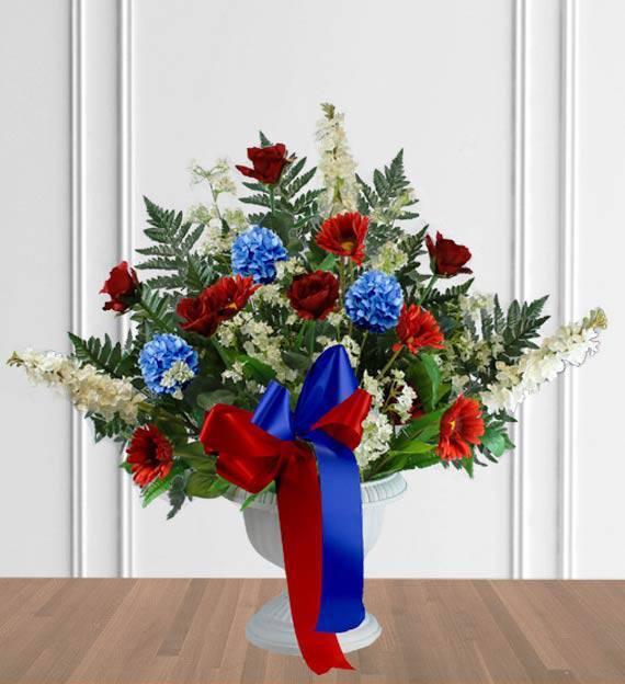 Red, White & Blue Sympathy Floor Basket