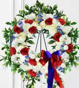 Red, White & Blue Sympathy Wreath