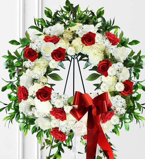 Red & White Sympathy Wreath
