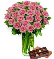 Two Dozen Pink Roses & Chocolates