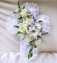 White Satin Cross Pillow