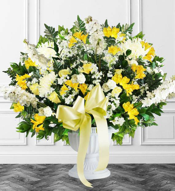 Yellow Sympathy Floor Basket