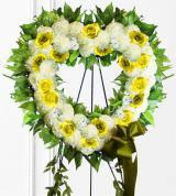 Yellow Sympathy Heart Wreath